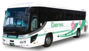 大型バス(本席45席,補助席8席,12m,有料道路代は特大)